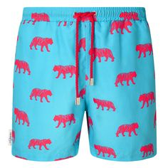 Sky blue and pink Tiger print men's drawstring swim shorts. Available in boys sizes too, each collection from Galago Joe is dedicated to one animal, with of all profits being donated to associated charities. Tiger Print, Swim Shorts, Sky, Swimwear, Pink, Blue, Collection, Fashion, Heaven