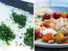 TORSK MED URTESMØR, CHERRYTOMATER OG BLOMKÅLRIS Scampi, Fish Recipes, Bon Appetit, Basil