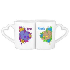 Scary Sugar Skull Lovers Mug Sets This fun & festive lovers mug set features .The friend cup has a tan skull with open yellow eye's. It has colorful light blue flowers around the head. And has lime green and yellow teeth. With a beautiful lime green nose. There is no jaw bone. The best cup has a purplish grey skull with open purple eye's. It has colorful yellow flowers around the head. And has pink and purple teeth. With a beautiful pink nose. There is no jaw bone.This is from the Day of the…