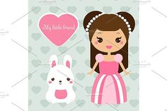 Cute princess with bunny by Bunny's Little Shop on @creativemarket