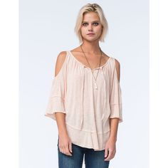 Full Tilt Keyhole Womens Peasant Top ($22) ❤ liked on Polyvore featuring tops, peach, cutout shoulder top, cut out shoulder tops, full tilt tops, full tilt and cold shoulder tops