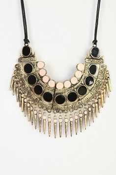 Spiked Bib Necklace - Urban Outfitters