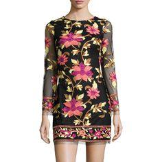 Neiman Marcus Floral-Embroidered Long-Sleeve Dress ($88) ❤ liked on Polyvore featuring dresses, multi, longsleeve dress, shift dress, floral embroidered mesh dress, long sleeve dress and floral embroidered dress