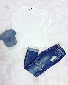 Bare shoulder and distressed babe  Hamsa Hat (NEW arrival) Zinfandel Top Chase Cropped Jeans  Use Code: MERRY20 for 20% off the ENTIRE store