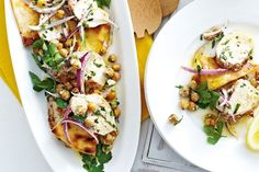 Middle eastern chicken with chickpea, herb and feta salad