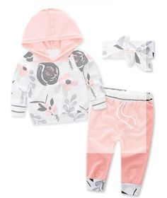 Pretty Floral Hoodie and Pants and Headband Set for Baby