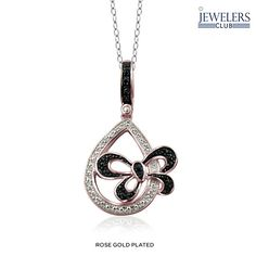 Genuine Black Diamond Accent Butterfly Pendant in Sterling Silver