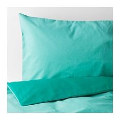 IKEA - SOMMAR 2017, Duvet cover and pillowcase(s), Twin, , Cotton feels soft and nice against your skin.Concealed snaps keep the comforter in place.You can easily vary the look in your bedroom, because the duvet cover has different colors on each side.