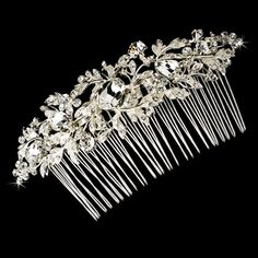 Vintage Style Leafy Bridal Hair Comb with Clear Rhinestones - from T's Studio Jewelry