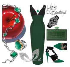 """Green apple"" by ellenfischerbeauty ❤ liked on Polyvore featuring Tacori, Rasario, Valentino, Monsoon, Jaquet Droz and Judith Leiber"