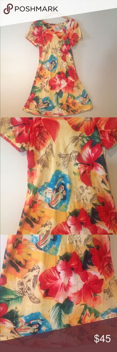LAST CHANCE🗣Vintage Hawaiian Luau Dress🌺 Vintage!' Super cute . Tags says xs, fits more small in my opinion . ✂️Measurements: bust- 17 inches. Length - 37 inches  💟Outfit Inspiration: ️Add Birkenstocks or gladiator sandals !  👰Help my fiancé and I save up for our wedding! 📦All purchases are shipped carefully and thoughtfully  🚭Smoke- free home ❗️Bundle to save on SHIPPING & TOTAL  💁Serious and reasonable offers only (no more  than 10% of listing price!)  ✅Suggested User, shop with…