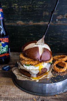 Sweet Potato Black Bean Chili Burgers w/Baked Cheddar Beer Onion Rings + Fried Egg | halfbakedharvest.com @hbharvest