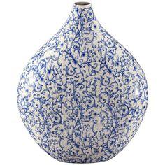 Blue Ceramic Vase | Canton Tapered Blue and White Ceramic Vase #X0599