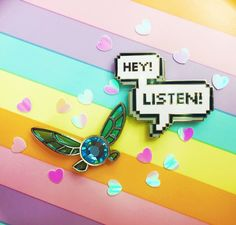 """Finally you can have your very own Fairy pall with you wherever you go! She also comes with her signature catch phrase """"Hey! Listen! The Navi """"Hey! Listen!"""" Pin"""
