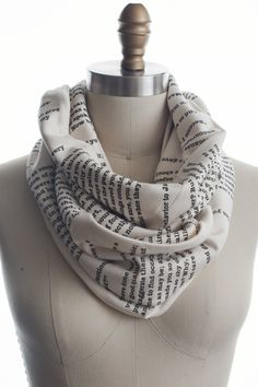Wrap up with a good Book Scarf! This Pride and Prejudice Book Scarf is our original and perennial customer favorite.   Super soft, and silky smooth, with quotes from perhaps the most romantic book of all time.