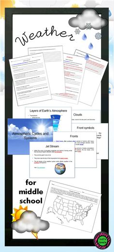 Add these activities to your weather units for upper elementary and middle school science classes.  Atmospheric cycles and systems, weather scavenger hunt, and a weather symbols map.  Visit Jodi's Jewels today!