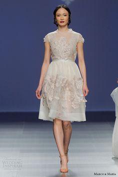 marco and maria bridal 2016 jewel neckline cap sleeves pastel blue knee length short wedding dress