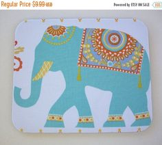 SALE  Mouse Pad mousepad / Mat  Rectangle  Boho Elephant by Laa766  chic / cute / preppy / computer, desk accessories / cubical, office, home decor / co-worker, student gift / patterned design / match with coasters, wrist rests / computers and peripherals / feminine touches for the office / desk decor