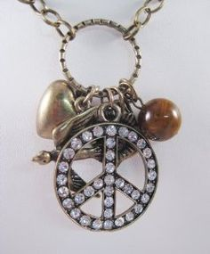 "28"" Necklace Featuring a Peace Sign with Crystals,doves & Heart Pendant"