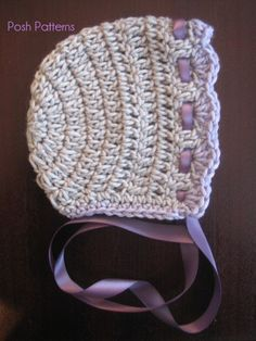Crochet PATTERN Hat Vintage Baby Bonnet.  Looks like a hat from  GrandmaLee to Summer, in lavender.