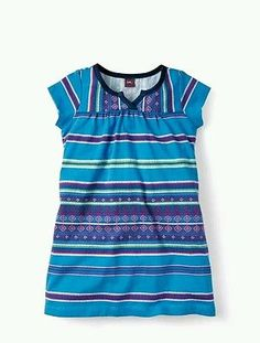 Tea Collection Girl's Size 5 Electric Blue Frasada Split Neck Dress New NWT