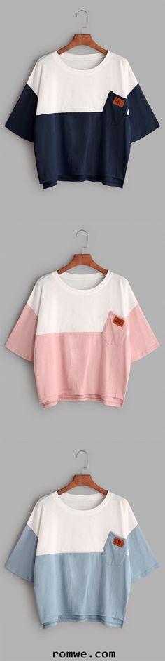 Color Block Dip Hem T-shirt