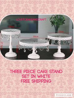 Cake stand white  3 piece cake stands by Lovetobakeandcraft
