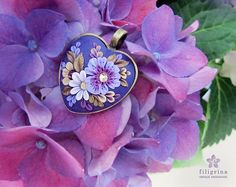 PURPLE HEART floral pendant, bronze tone metal bezel 30x30 mm, polymer clay filigree applique embroidery technique. Romantic gift for her