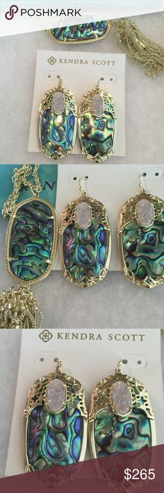 NWT Kendra Scott Abalone Devas and Rayne SET! This is a perfectly-matched, especially gorgeous set of brand new with tags Devas with iridescent drusy and an amazing brand new with tags matching Rayne! I searched high and low for this particular color. Unlike some of the ones I've seen lately, these stones do not have that feathering or striations and show mostly blue, purple, and green. No trades, and please be nice and don't lowball. Kendra Scott Jewelry Earrings