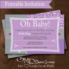Modern Girl Baby Shower Invitation  - Purple Grey Printable - Personalized Oh Baby.