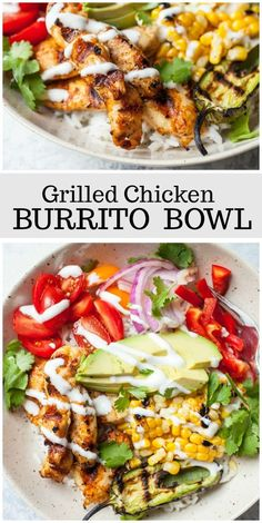 Grilled Chicken Burrito Bowls eating breakfast eating dinner eating for beginners eating for weight loss eating grocery list eating on a budget eating plan eating recipes eating snacks Chicken Burrito Bowl, Chicken Burritos, Burrito Bowls, Burrito Burrito, Chicken Rice Bowls, Mexican Food Recipes, Diet Recipes, Cooking Recipes, Recipes Dinner
