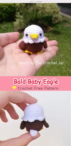 Bald Baby Eagle Amigurumi Free Crochet Pattern #letscrochetfreepattern #crochetamigurumpattern #freecrochetpatterns #crochetbird