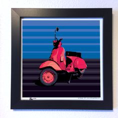 "Jon-Lenois Savage: 	Gallery: Go series ""Red Vespa"" (2015) 12 x 12 inch, Digital art - Giclee print on enhanced matte paper. 14 x 14 inch, frame - Stain black and glass. Signed by Jon Savage (Available for purchase) #art #artist #popart #popartist #digitalart #contemporary #contemporaryart #red #vespa #scooter #vespagram #VespaLovers #italy #italian #vintagevespa #sandiego #california #jonsavagegallery"