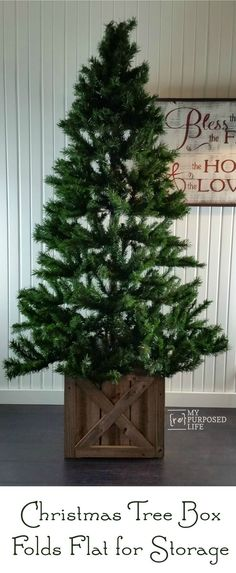 Don't use a tree skirt, try a Christmas tree stand box. This wooden box covers up your Christmas tree stand and decorates your tree. Folds flat for storage. Farmhouse Christmas Tree Stands, Christmas Tree Stand Cover, Real Christmas Tree, Christmas Tree Themes, Xmas Tree, Christmas Diy, White Christmas, Christmas Swags, Country Christmas