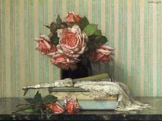 Jan Bogaerts  Still Life with Pink Roses and a Fan  1916