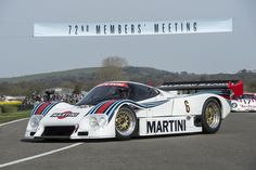 A pair of Martini-liveried Lancia LC2s, including the car that Bob Wollek put on pole position for the Le Mans 24 Hours of 1984