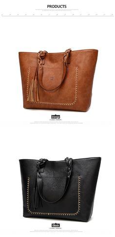 69b5b06f69 Vintage PU Tassel Women Shoulder Bag Female Retro Daily Causal Totes Lady  Elegant Shopping Handbag