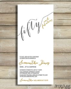 50th birthday invitation for women Fifty and fabulous Golden 50