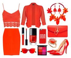 """""""Bright Red"""" by paperandpen ❤ liked on Polyvore featuring McQ by Alexander McQueen, City Chic, J.W. Anderson, Oscar de la Renta, Milena Kovanovic, Christian Dior, MAC Cosmetics, Casetify and RetroSuperFuture"""