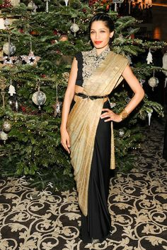 Best Dressed List: Freida Pinto in Anamika Khanna at the ASMALLWORLD Winter Weekend in Gstaad