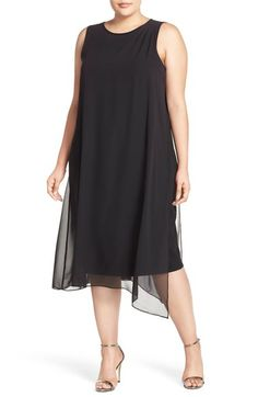 Vince Camuto Chiffon Overlay Sleeveless Asymmetrical Shift Dress (Plus Size) available at #Nordstrom