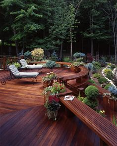 built-in benches timber decking