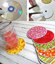 These fun Recycled CD Coasters are a great way to put old CD's to good use. This fun collection of coasters makes a great gift and is so budget friendly. CD crafts like this are also great for group activities and craft nights with your kids. Cd Crafts, Crafts To Do, Crafts For Kids, Arts And Crafts, Family Crafts, Cd Diy, Coaster Crafts, Diy Coasters, Making Coasters