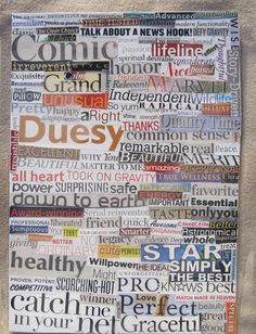 Items similar to Delightful duesy laminated collage. Collage Art, Letter Collage, Scrapbook Paper, Spirituality, Lettering, Thoughts, Words, American, Drawing Letters