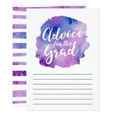 Purple Watercolor Advice for the Grad Card