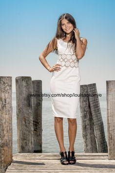 pencil dress wiggle dress cocktail dress with lace by Louisa Okonye #whitedress #summerdress #lace