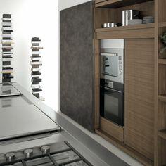 Cocina abierta con comedor integrado Acabado: Nogal - Acero inoxidable - Cuero Cabinet, Storage, Kitchen, Furniture, Home Decor, Open Galley Kitchen, Stainless Steel, Dining Room, Kitchens