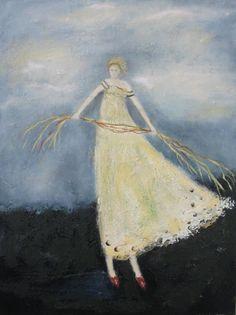 Spinning Straw 24x18 original oil on canvas by EverywomanArt, $300.00