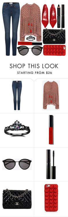 """""""street style"""" by sisaez ❤ liked on Polyvore featuring Paige Denim, Zara, Fidelity, Bobbi Brown Cosmetics, Yves Saint Laurent, Manolo Blahnik, Surratt, Chanel, Marc Jacobs and Givenchy"""