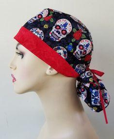 Scrub Caps, New Print, Sugar Skull, Hats For Women, Ponytail, Scrubs, Print Design, Sewing, Awesome
